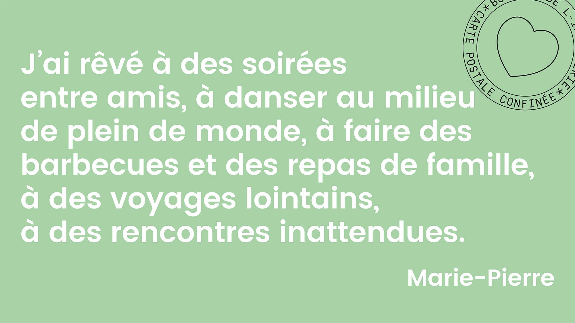 Carte postale confinée – Marie-Pierre Cravedi